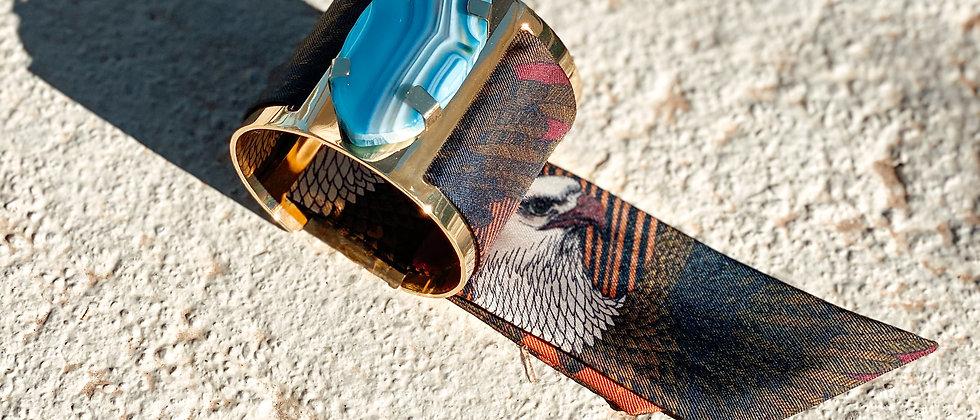 Grande manchette MERCURE, agate bleue et bracelet L'Aigle khaki