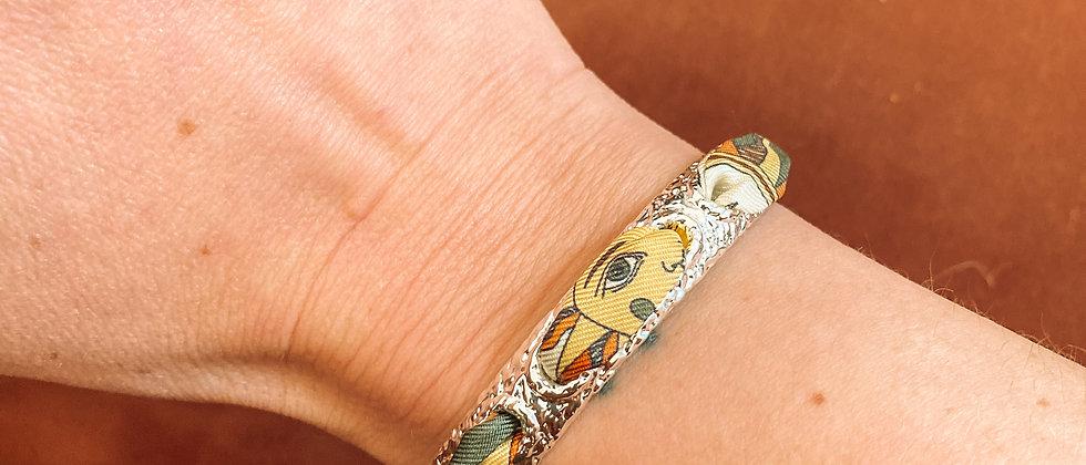 Bracelet Queen et ruban Soleil, terracotta