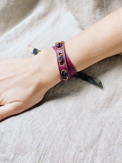 Bracelet double tour cerise Cycle, ruban Zèbre khaki