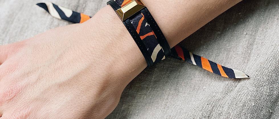 Petite manchette Lingot noire & ruban Le Zèbre, orange