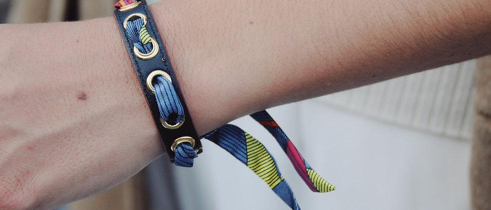Bracelet noir Cycle, ruban Libre orange