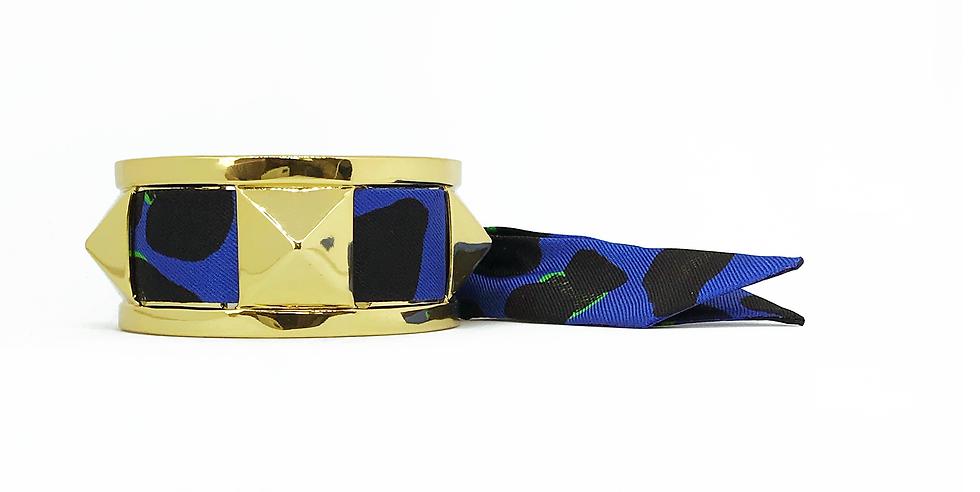 Manchette 3cm CLOU - Bracelet Léopard, Bleu électrique
