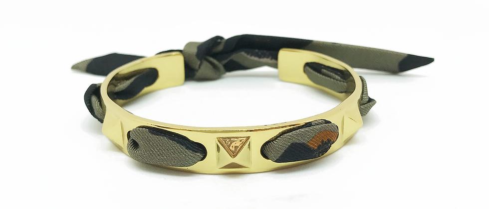 Bracelet Clous et ruban Léopard, Khaki/taupe