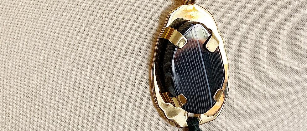 Collier Mercure à Agate Noire et pompon vert