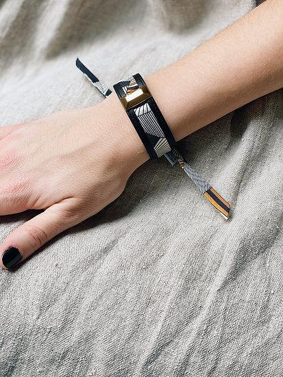 Petite manchette Lingot noire & ruban Libre, noir