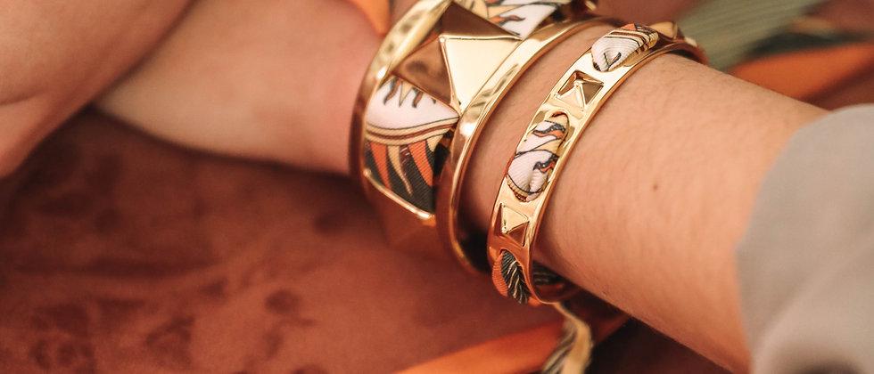 Bracelet Clous et ruban Soleil, terracotta