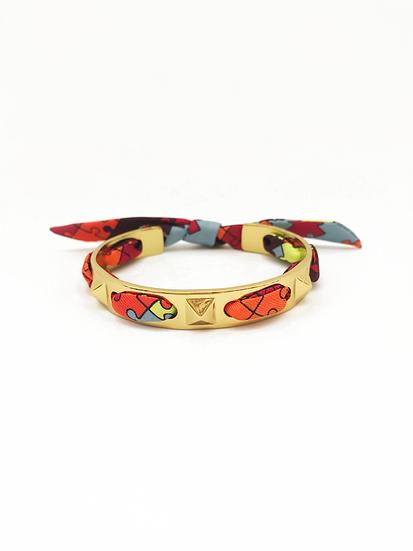Bracelet Clous et ruban Puzzle - Bleu Jean