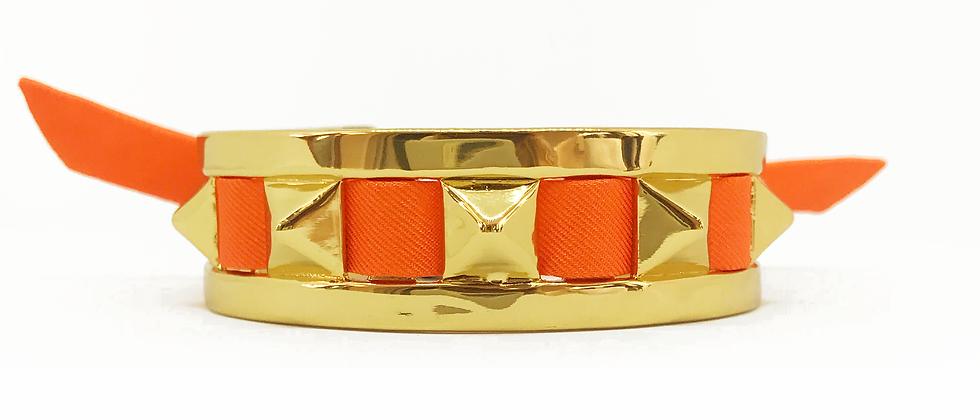 Petite manchette 2cm Clous et ruban Orange