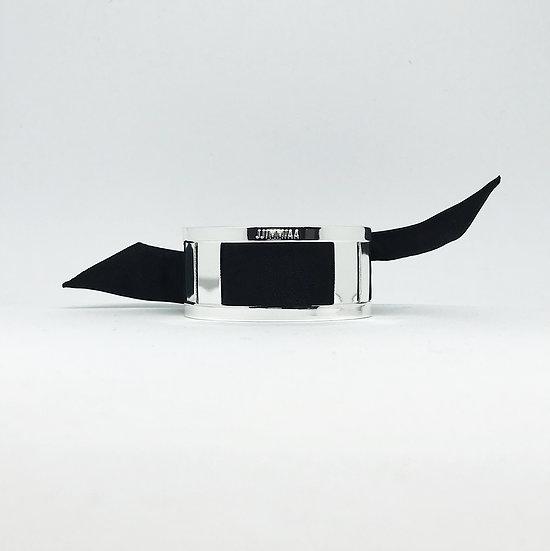 Petite manchette argent & son bracelet uni Noir