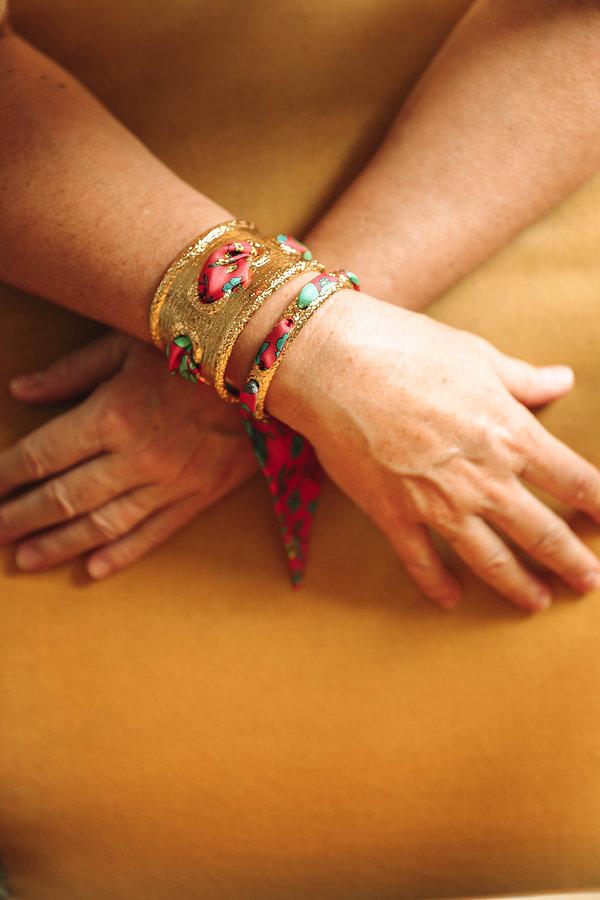 Bracelet QUEEN et ruban Liberty rose, AN-NEE, par Alexia Nokovitch