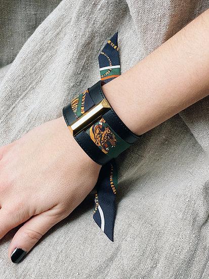 Manchette Lingot noire & ruban Tigre, vert