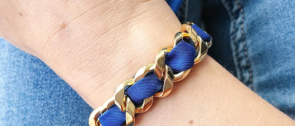 Bracelet Chaîne et son ruban Bleu Electrique
