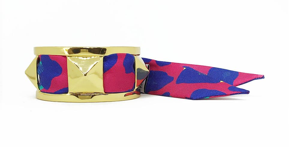 Manchette 3cm CLOU - Bracelet Léopard, Rose Fuchsia