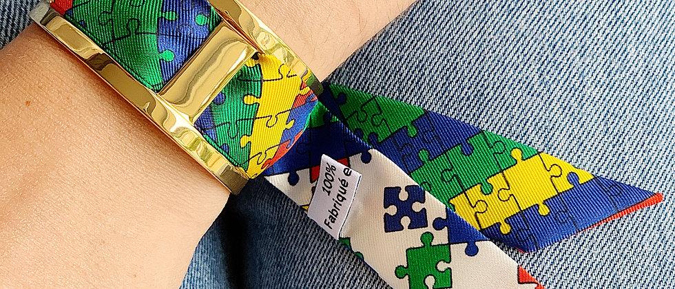Manchette JMA de 3 cm - Bracelet Puzzle, colori Primaire
