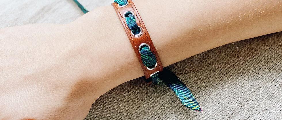 Bracelet camel Cycle, ruban L'Aigle, turquoise