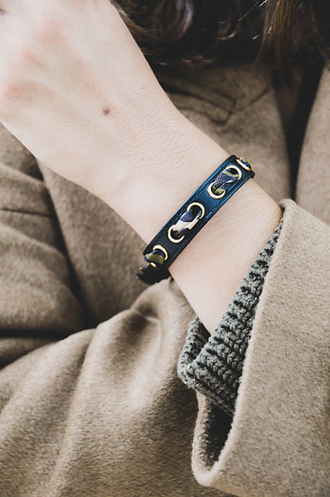 Bracelet noir Cycle, ruban Le Zèbre Khaki