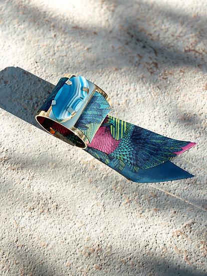 Grande manchette MERCURE, agate bleue et bracelet Aigle, bleu