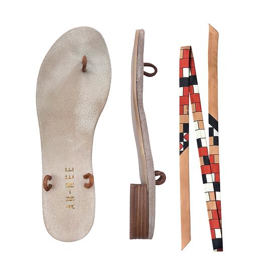 Sandales Horae - Lacets Mosaïques Beiges