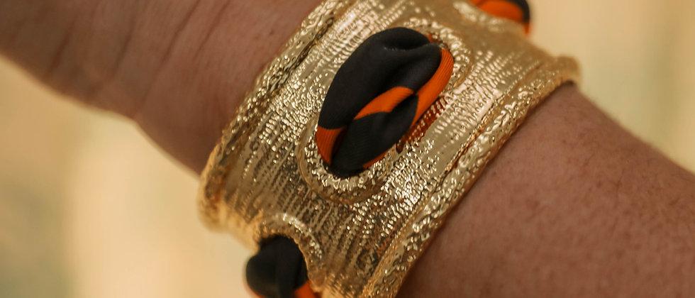 Manchette Queen et bracelet Léopard, orange