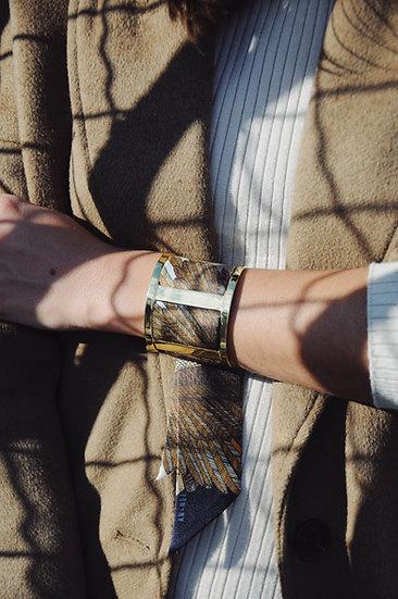 Grande Manchette JMA et bracelet L'Aigle, blanc cassé