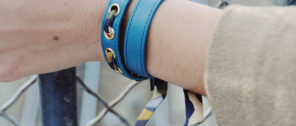 Bracelet double tour octane Cycle, ruban Le Zèbre khaki