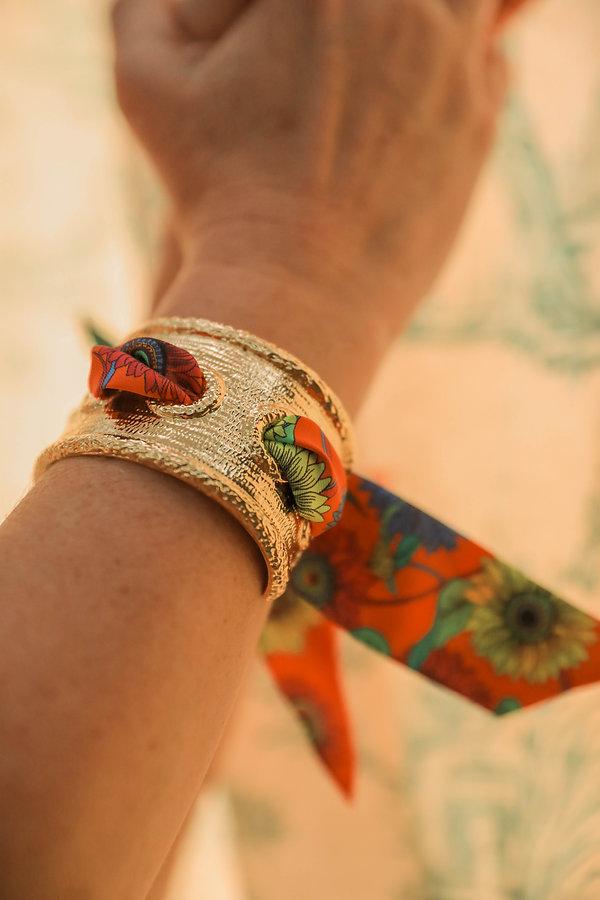 Manchette QUEEN AN-NEE, bracelet en soie Tournesols orange