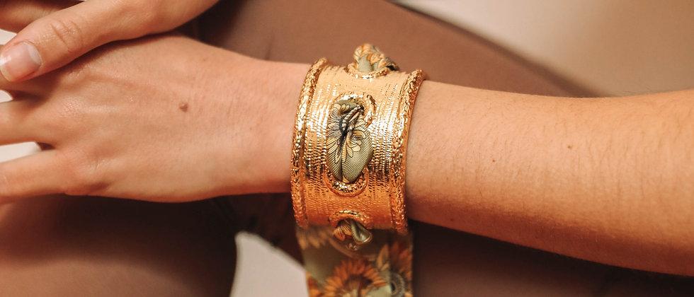 Manchette Queen et bracelet Tournesols, vert