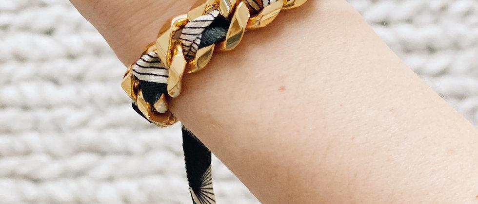 Bracelet Chaîne et son ruban Libre, noir