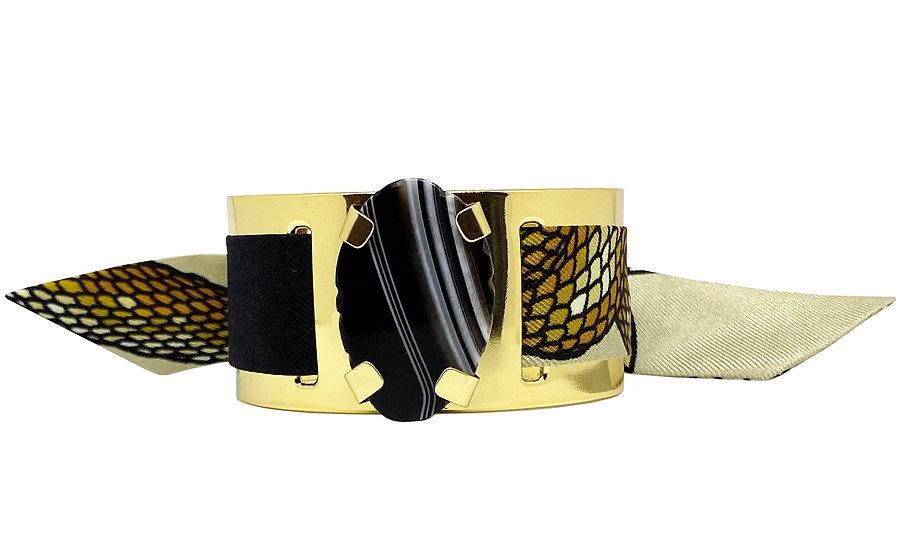 Petite manchette MERCURE, agate Noire et bracelet Cobra Sable