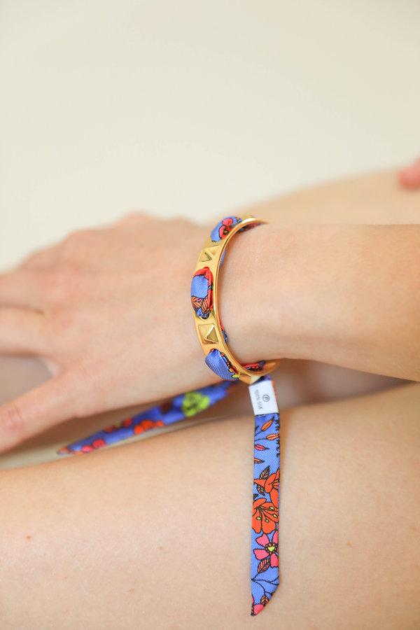 Bracelet en laiton AN-NEE, tissé d'un ruban en soie Liberty made in france