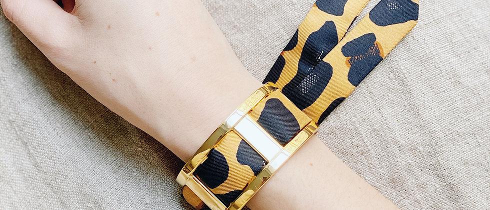 Manchette JMA de 3 cm - Bracelet Léopard, moutarde