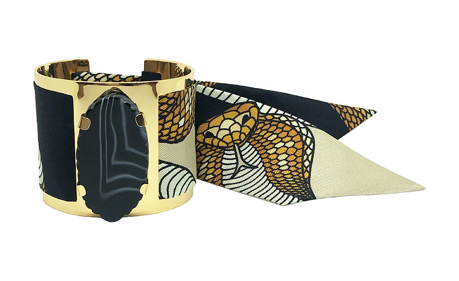 Grande manchette MERCURE, agate Noire - Cobra Sable