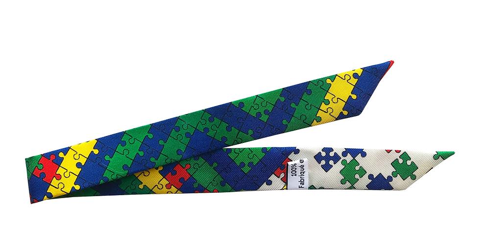 Ruban 1cm - Puzzle, Bleu et vert