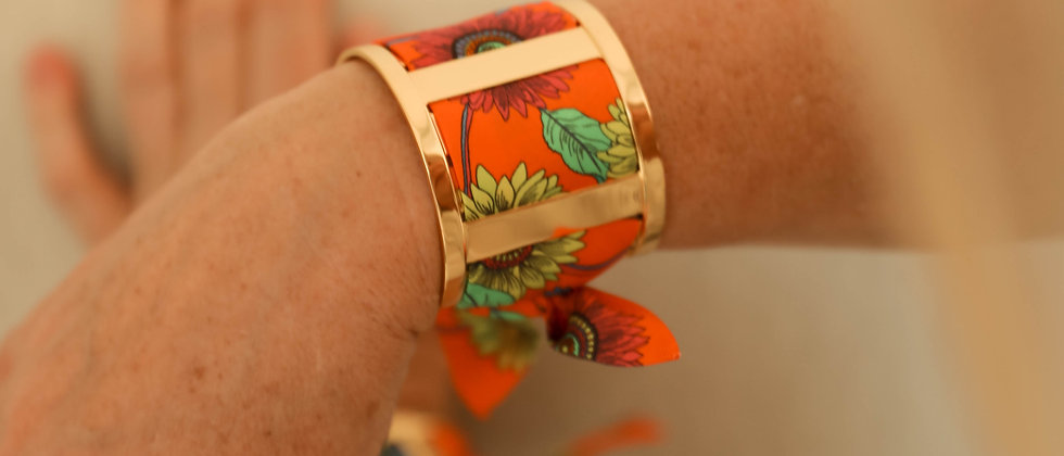 Grande Manchette JMA et bracelet Tournesols, orange