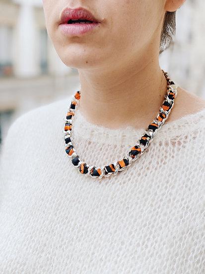 Collier Chaîne et lacet Le Zèbre, orange