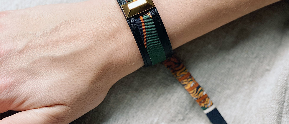 Petite manchette Lingot noire & ruban Le Tigre, vert