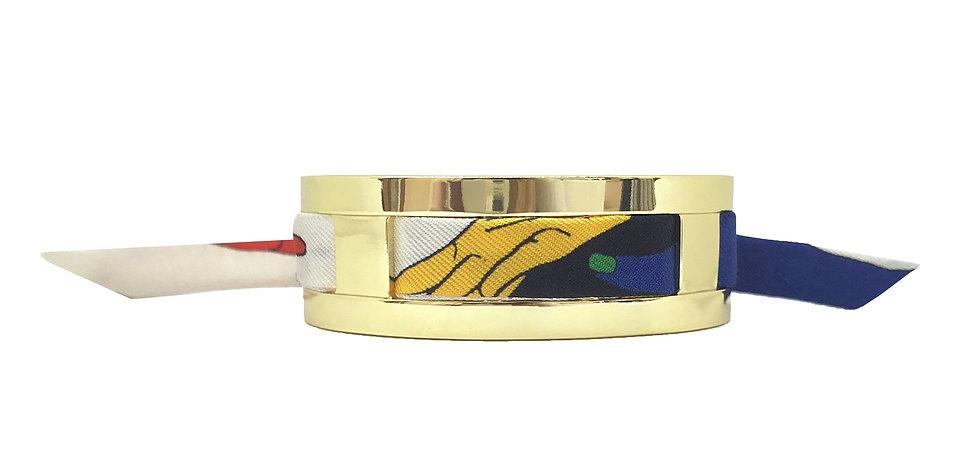 Petite Manchette JMA de 2 cm - Bracelet Jeu de mains, Blanc cassé