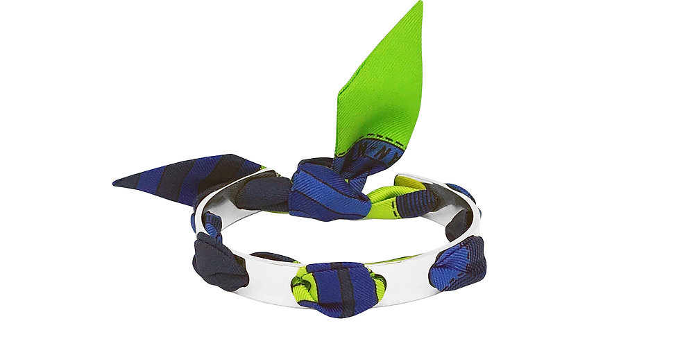 Bracelet Proust - Ruban Transat Bleu & Vert