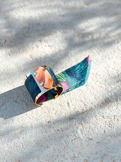 Grande manchette MERCURE, agate cornaline et bracelet Aigle, bleu