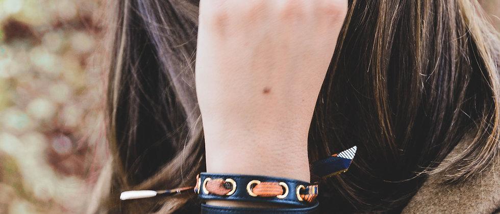 Bracelet double tour noir Cycle, ruban Libre, blanc cassé