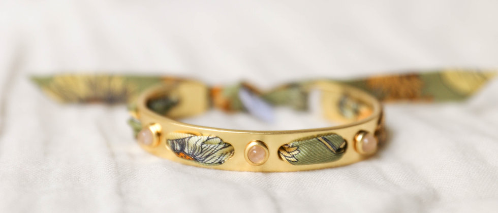 Bracelet Quartz rose, et ruban Tournesols vert