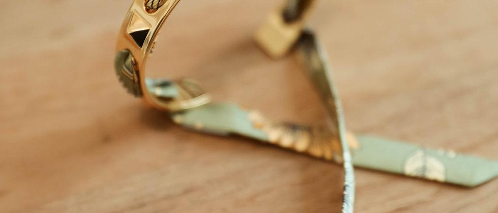 Bracelet Clous et ruban Tournesols, vert