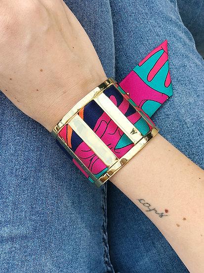 Grande Manchette JMA et bracelet Jeu de mains, Turquoise