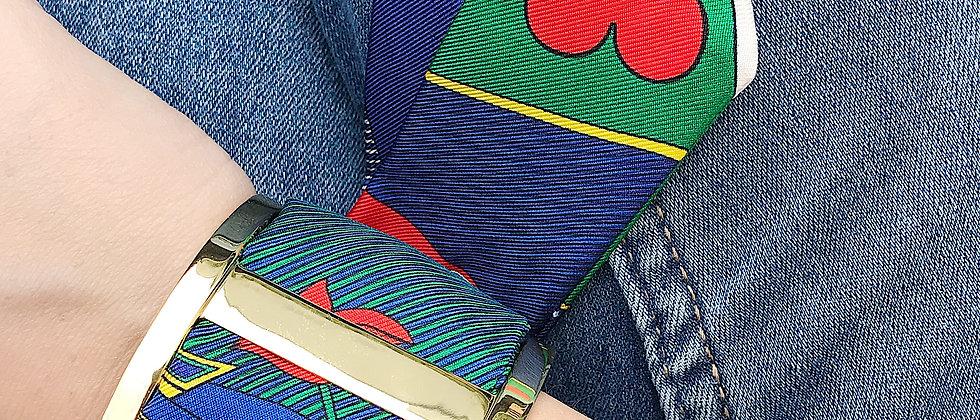 Grande Manchette JMA et bracelet Dame de Coeur, vert