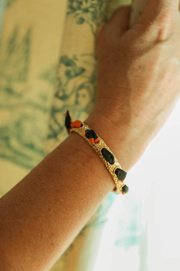 Bracelet QUEEN et ruban en soie Léopard orange AN-NEE, par Alexia Nokovitch
