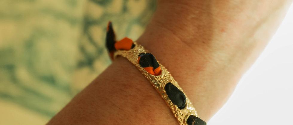 Bracelet Queen et ruban Léopard, orange