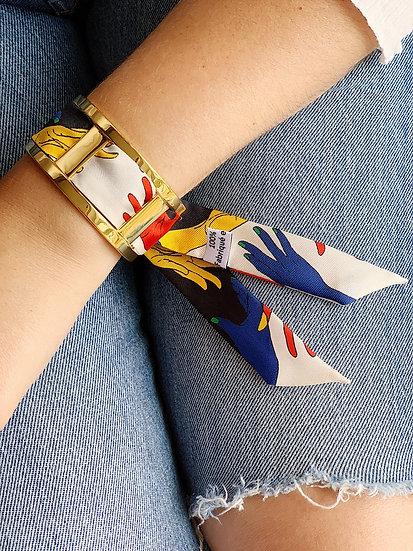 Manchette JMA de 3 cm - Bracelet Jeu de mains, colori Blanc cassé