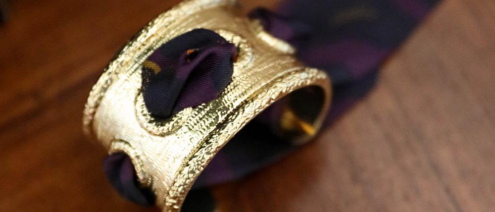Manchette Queen et bracelet Léopard, prune