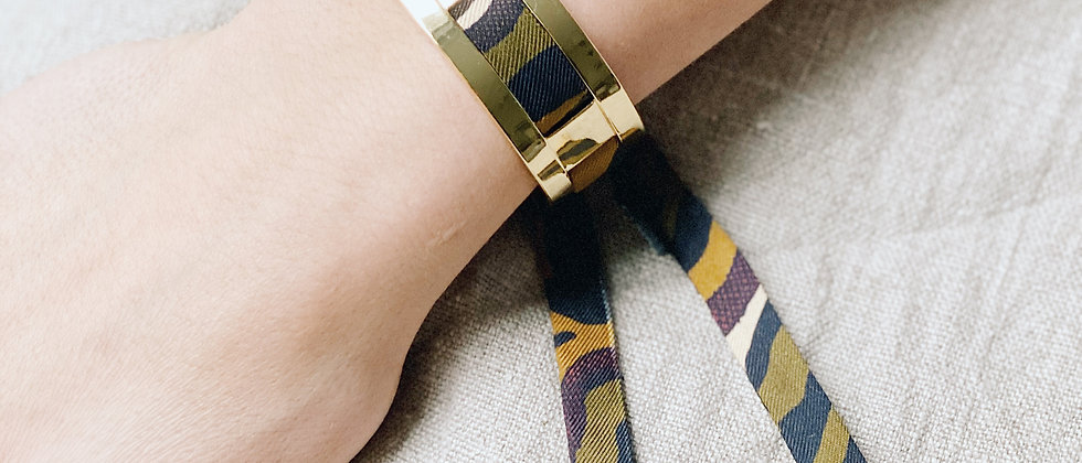 Petite Manchette JMA de 2 cm - Bracelet Le zèbre khaki