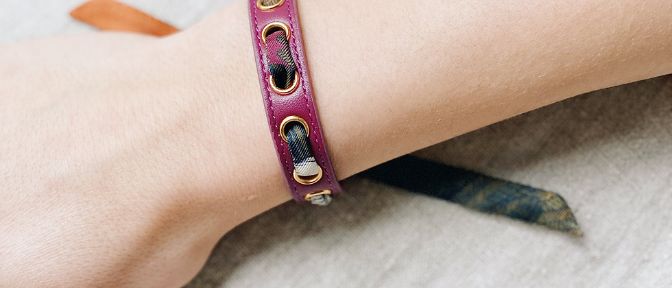 Bracelet cerise Cycle, ruban L'Aigle Khaki